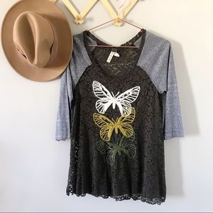 FREE PEOPLE Butterfly Embroidered Lace Raglan Tee